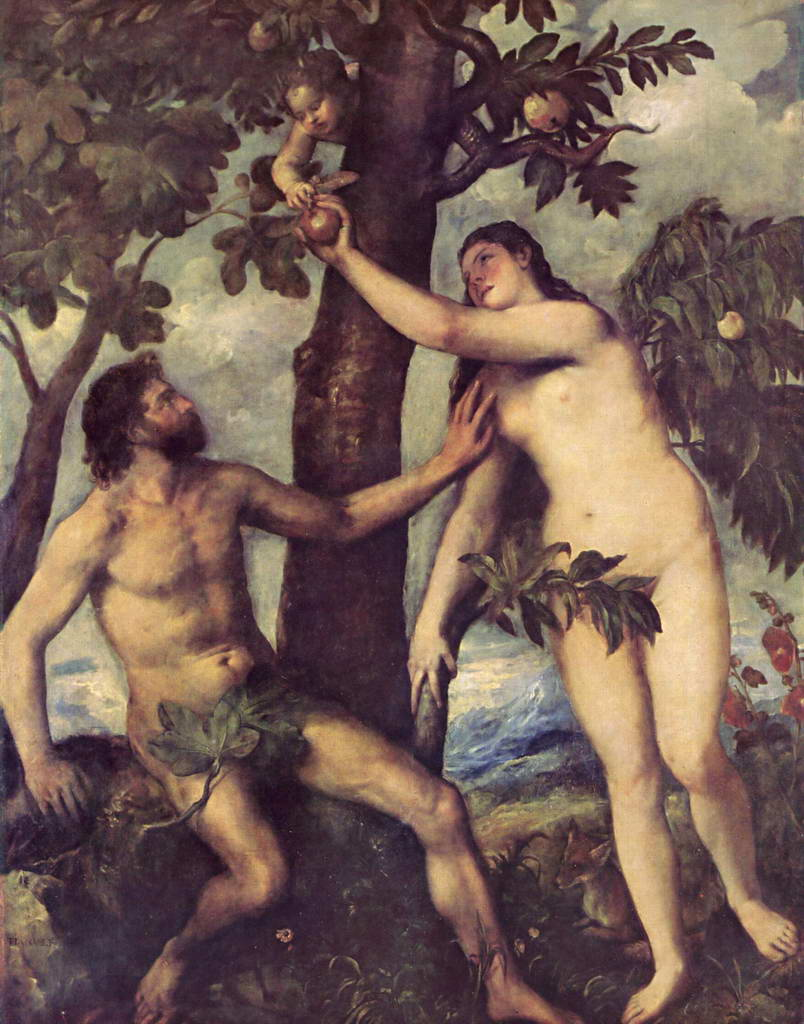 Тициан Вечеллио.  Грехопадение.   Около 1570 гг.