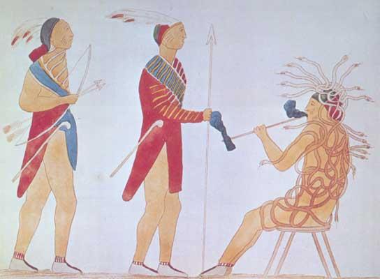 Гайавата и Деганавида перед Атотархо.