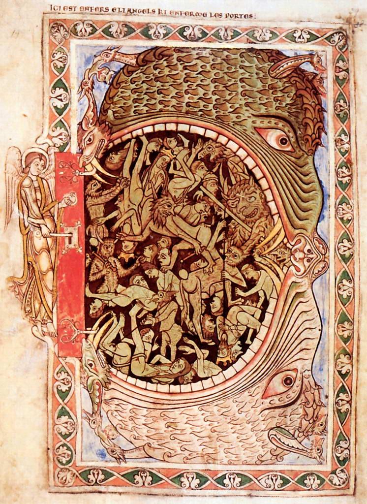 Миниатюра к псалтири Анри де Блуа: Ад в виде пасти дьявола.    Середина 12 в.