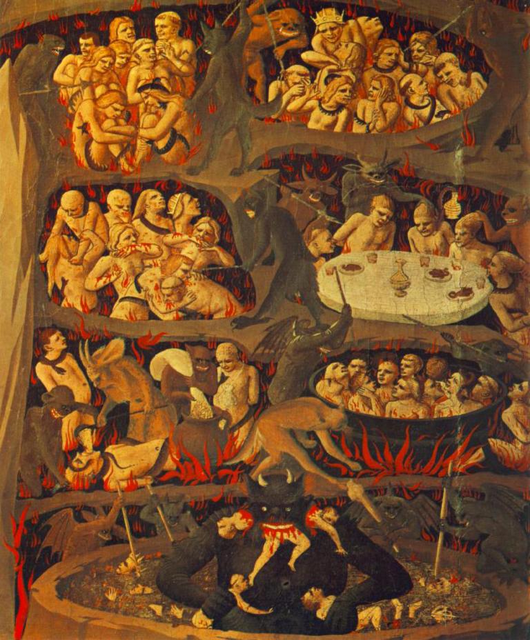 Фрагмент фрески Анджелико.   Страшный Суд: грешники в аду.   1432–35 гг.