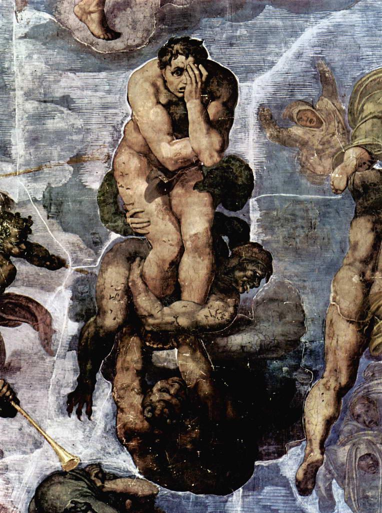 Микеланджело Буонарроти.    Страшный суд, фреска  Сикстинской капеллы. Фрагмент. Проклятые. 1535–1541 гг.