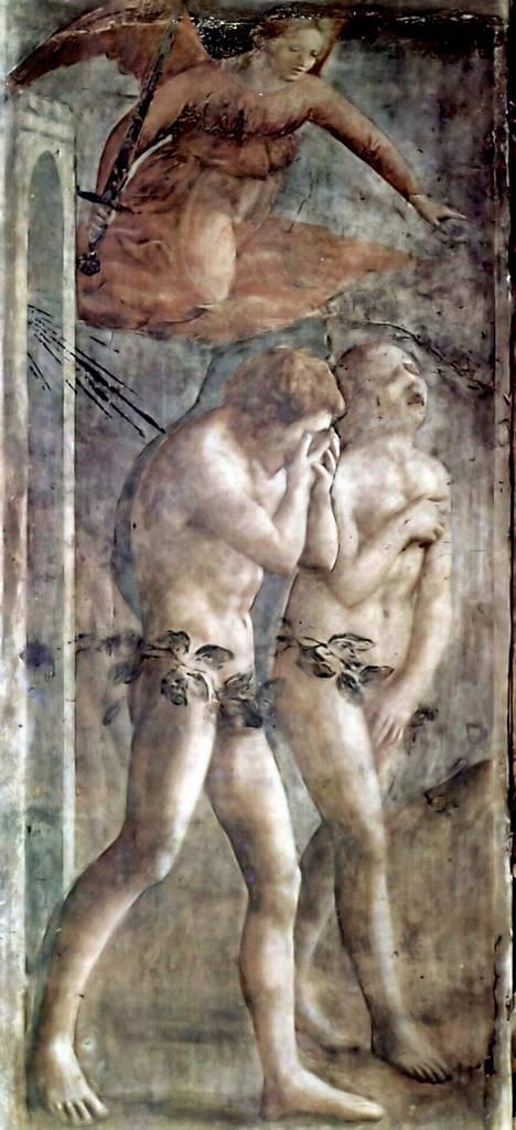 Мазаччо.  Цикл фресок в капелле Бранкаччи в Санта Мария дель Кармине (Флоренция): изгнание из рая.    1425-1428 гг.