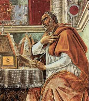 Блаженный Августин в келье. Фреска работы С. Боттичелли. 1480 г.