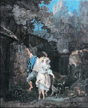 Л. Ф. Дебюкур. «Утреннее прощание». Цветная акватинта. 1787г.