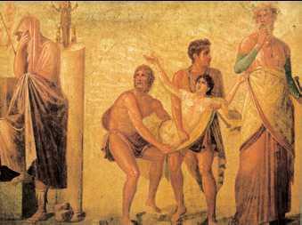 «Принесение в жертву Ифигении». Фреска Дома Трагического поэта. Помпеи. 50—70-е гг. н.э.