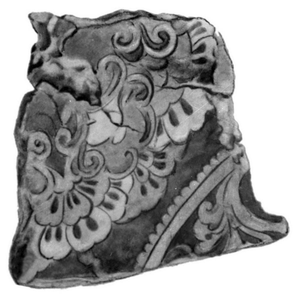 Фрагмент росписи из 1-го буддийского храма. Конец 7 - начало 8 вв.