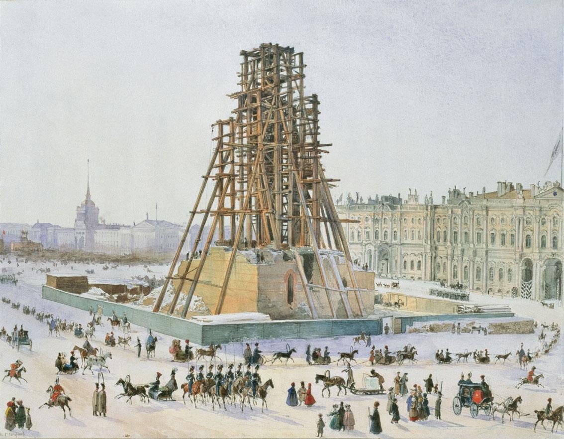 Александровская колонна в лесах. 1832—1833