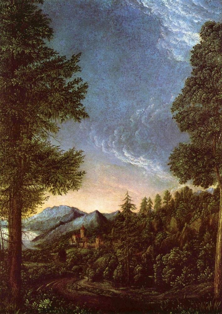 Пейзаж с замком Вёрт. 1510-е гг. Старая пинакотека. Мюнхен