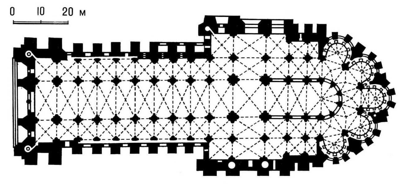 План собора в Реймсе (Франция). 1211 - 1311.