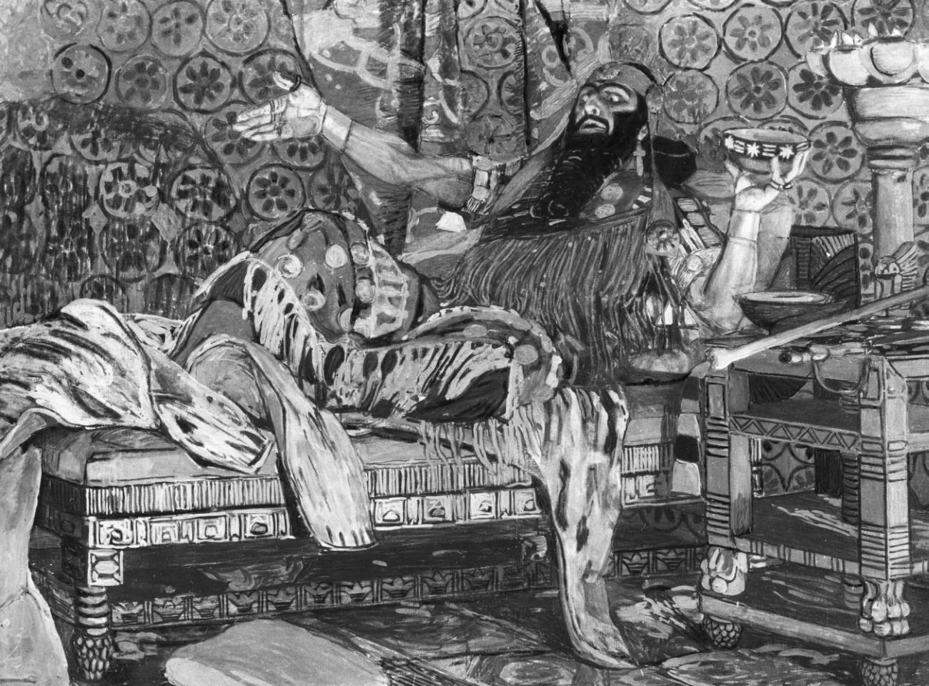 А. Я. Головин. Портрет Ф. И. Шаляпина в роли Олоферна. Темпера, пастель. 1908. Третьяковская галерея. Москва.