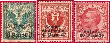 Марки Итальянской почты в Албании. Слева направо: общий выпуск; г. Скутари (Шкодер); г. Валоне (Влёра)