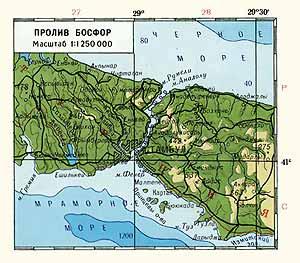 Пролив Босфор. Физическая карта