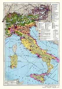 Италия, Швейцария, Австрия. Экономическая карта