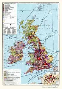 Великобритания, Ирландия. Экономическая карта