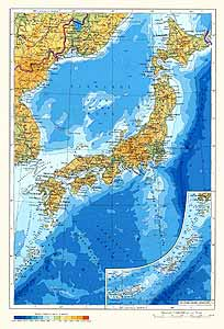 Япония. Физическая карта