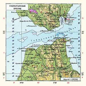 Европа. Гибралтарский пролив. Физическая карта