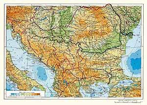 Румыния, Болгария, Югославия, Албания. Физическая карта