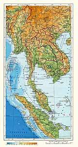 Индокитай. Физическая карта