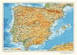 Испания, Португалия. Физическая карта