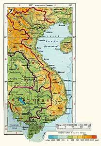 Вьетнам. Физическая карта