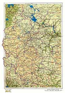 Центр европейской части РСФСР. Физическая карта