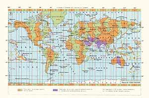 Карта поясного времени