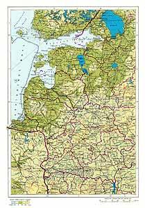 Белорусская ССР, Литовская ССР, Латвийская ССР, Эстонская ССР. Физическая карта