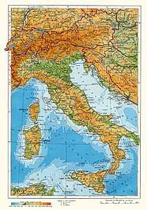 Италия, Швейцария, Австрия. Физическая карта