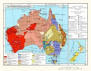 Австралия, Новая Зеландия. Месторождения полезных ископаемых