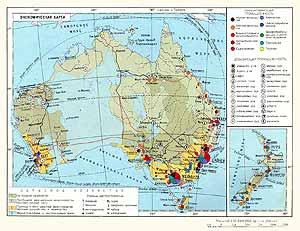 Австралия, Новая Зеландия. Экономическая карта