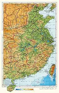 Восточный Китай. Физическая карта