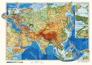 Евразия. Физическая карта