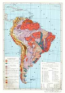 Южная Америка. Месторождения полезных ископаемых