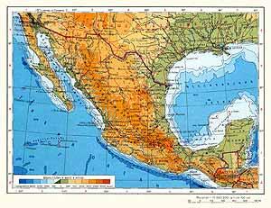 Мексика. Физическая карта