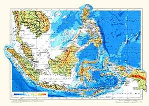 Индонезия, Филиппины, Малайзия, Сингапур. Физическая карта