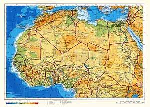 Северная и Западная Африка. Физическая карта