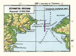 Берингов пролив. Физическая карта
