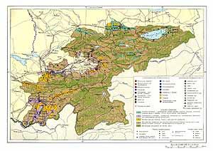 Киргизская ССР, Таджикская ССР. Экономическая карта СССР