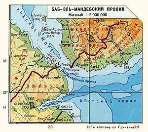Баб-Эль-Мандебский пролив. Физическая карта