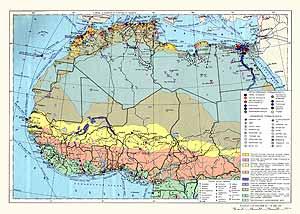 Северная и Западная Африка. Экономическая карта