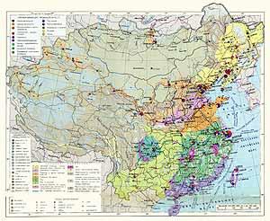 Китай, Монгольская Народная Республика. Экономическая карта