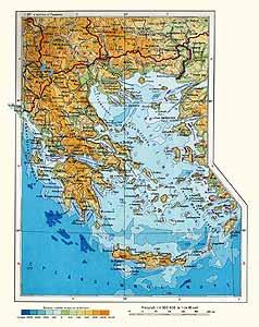 Греция. Физическая карта