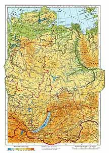 Средняя Сибирь СССР. Физическая карта