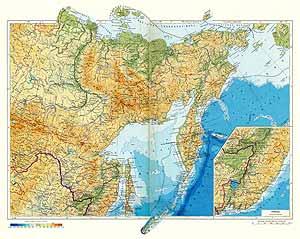 Северо-восток Сибири и Дальний Восток СССР. Физическая карта