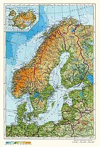 Финляндия, Швеция, Норвегия, Дания, Исландия. Физическая карта