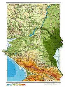 Нижнее Поволжье и Северный Кавказ СССР. Физическая карта