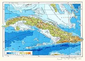 Куба. Физическая карта