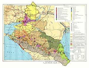 Северо-Кавказский район СССР. Экономическая карта