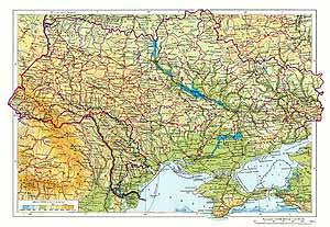 Украинская ССР, Молдавская ССР. Физическая карта