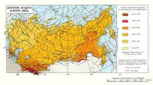 Давление воздуха и ветер. Июль. СССР